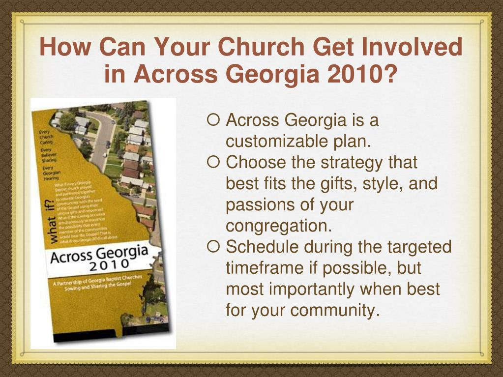 How Can Your Church Get Involved in Across Georgia 2010?