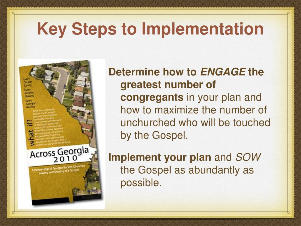 Key Steps to Implementation