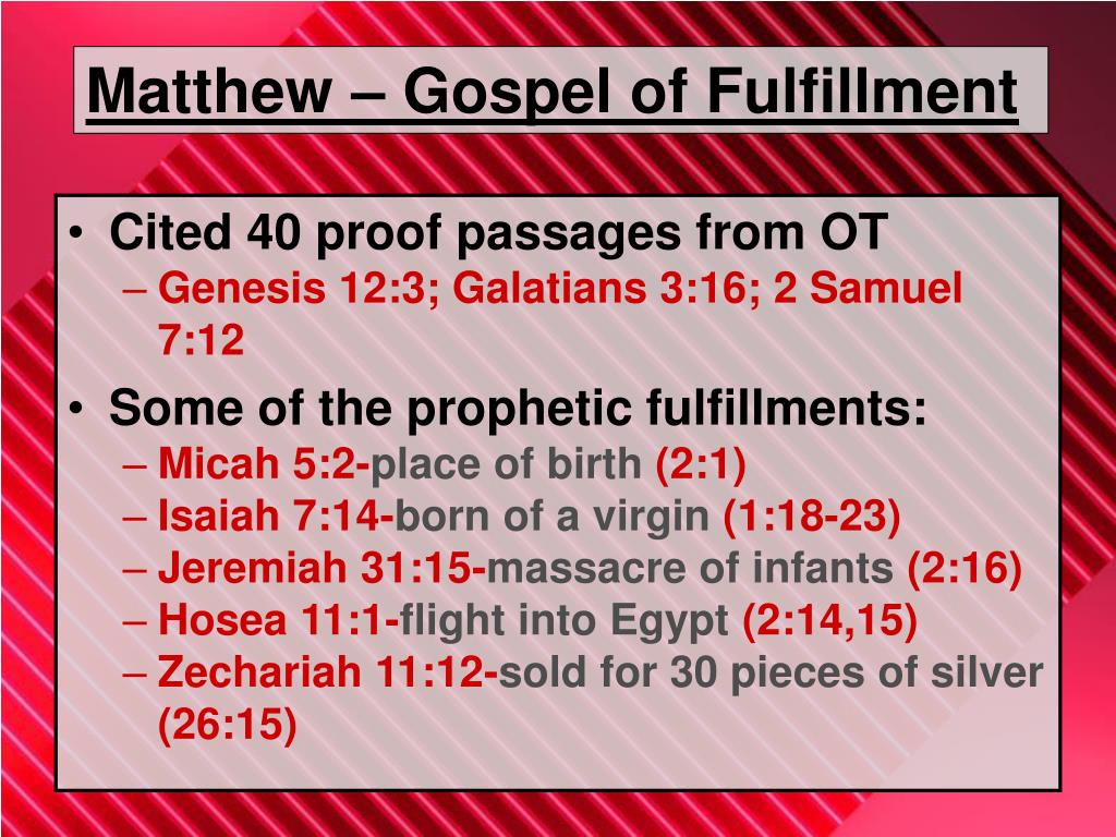 Matthew – Gospel of Fulfillment