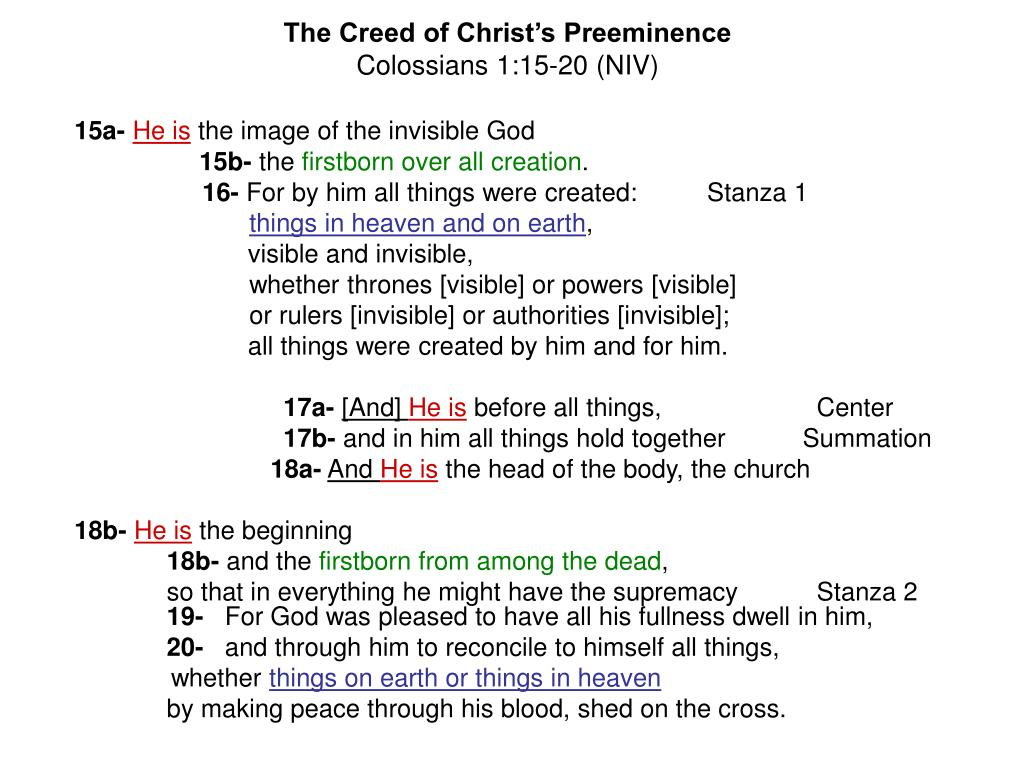 The Creed of Christ's Preeminence