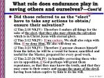 what role does endurance play in saving others and ourselves cont d7
