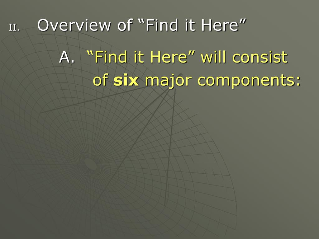 "Overview of ""Find it Here"""