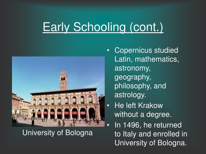 Early Schooling (cont.)