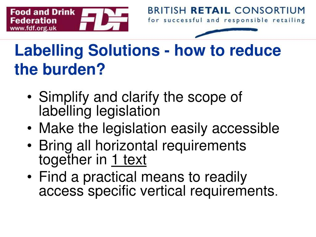 Labelling Solutions - how to reduce the burden?