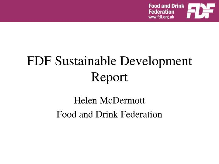 Fdf sustainable development report
