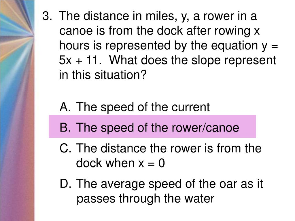 The distance in miles, y, a rower in a