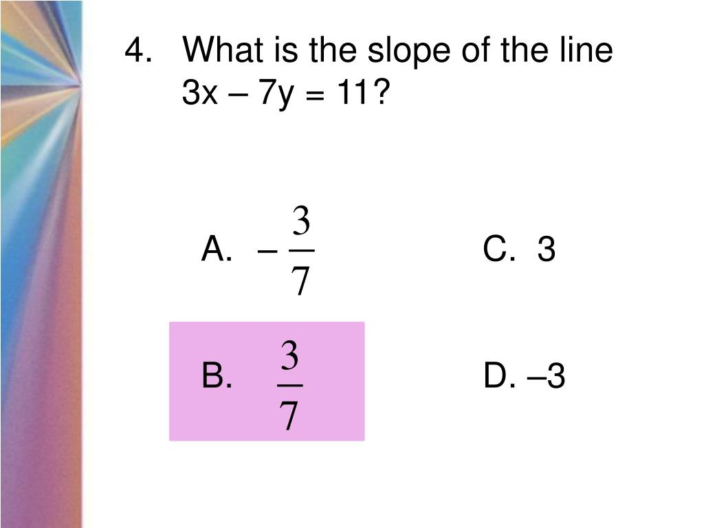 What is the slope of the line
