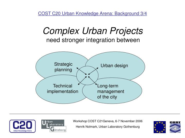COST C20 Urban Knowledge Arena: Background 3/4