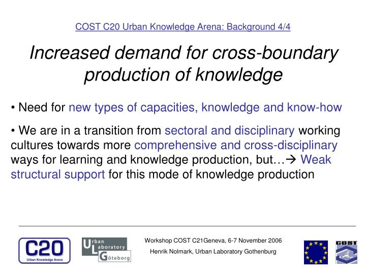 COST C20 Urban Knowledge Arena: Background 4/4