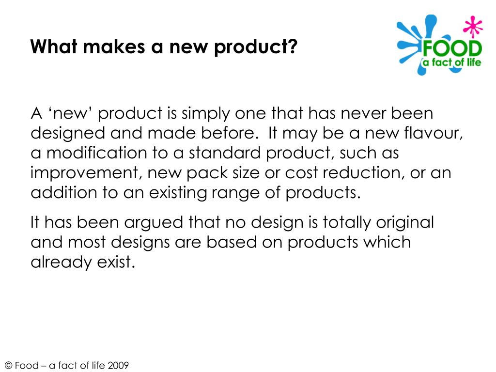 What makes a new product?