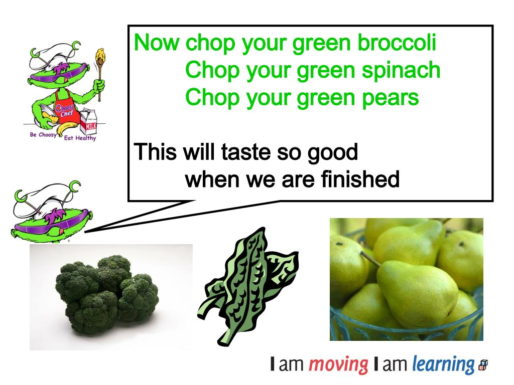 Now chop your green broccoli