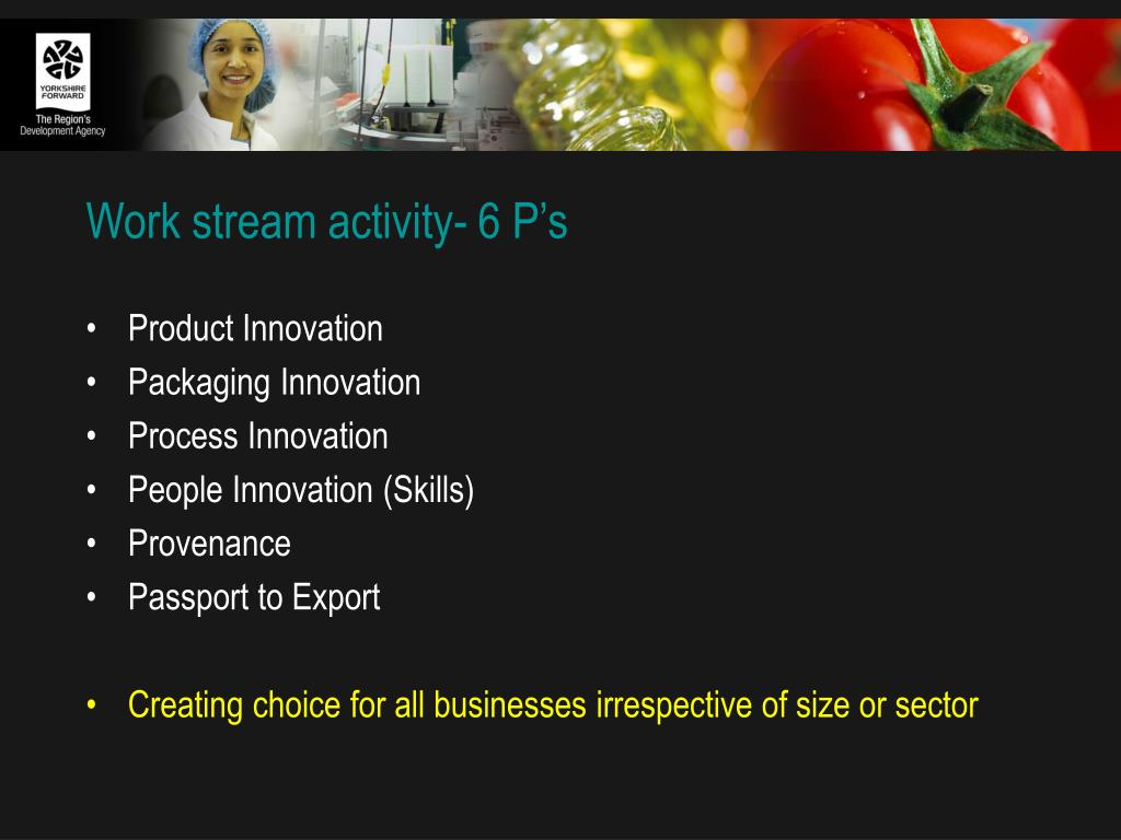 Work stream activity- 6 P's