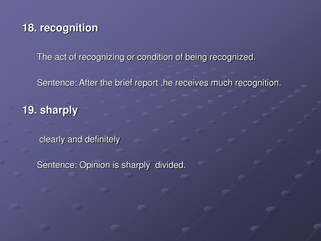 18. recognition