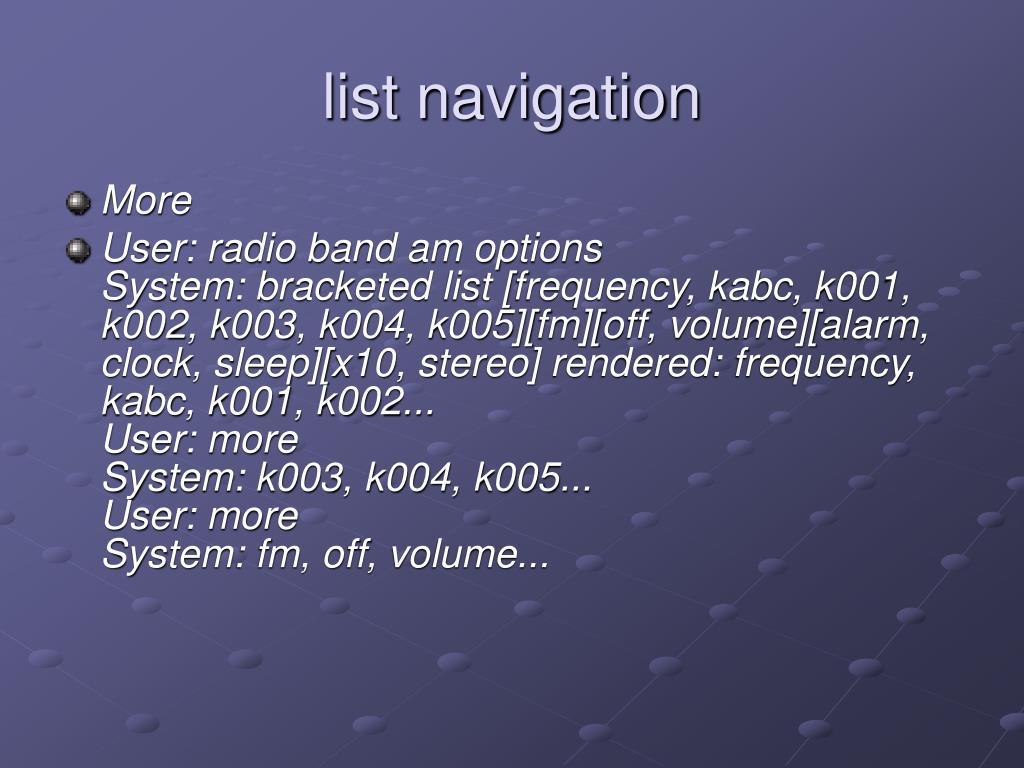 list navigation