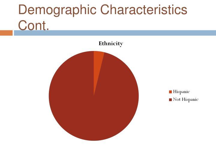 Demographic Characteristics Cont.