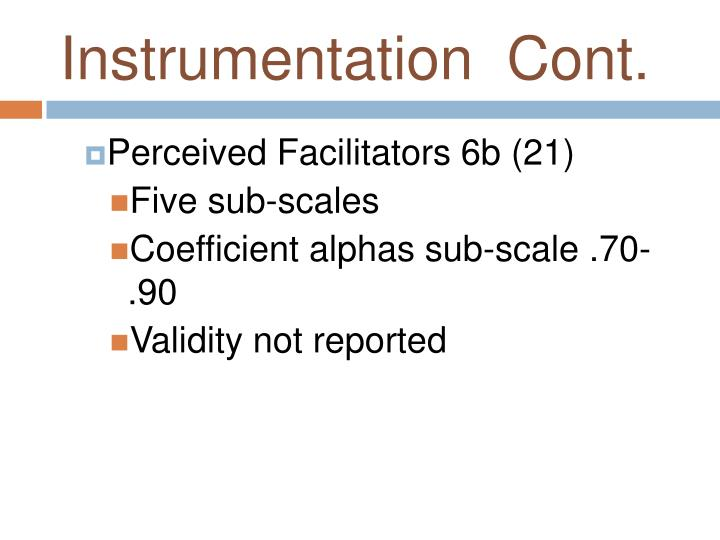 Instrumentation  Cont.