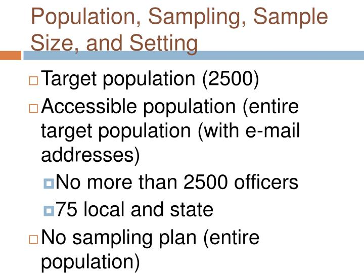 Population, Sampling, Sample Size, and Setting