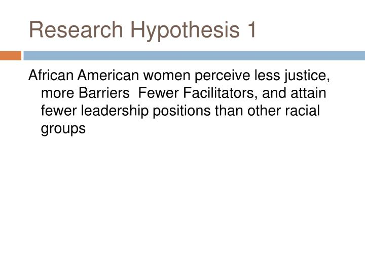 Research Hypothesis 1