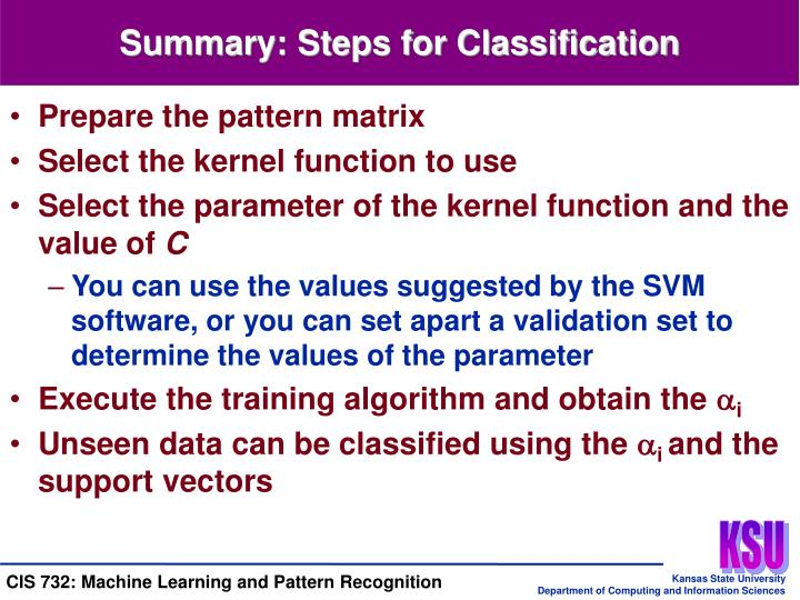 Summary: Steps for Classification