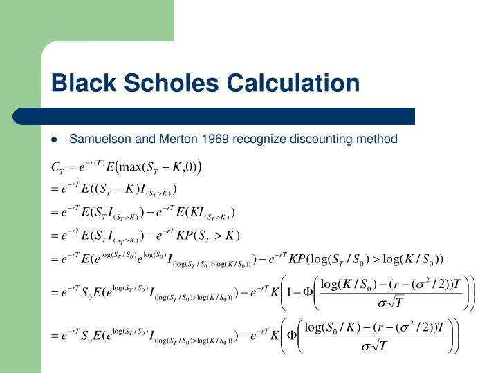 Black Scholes Calculation