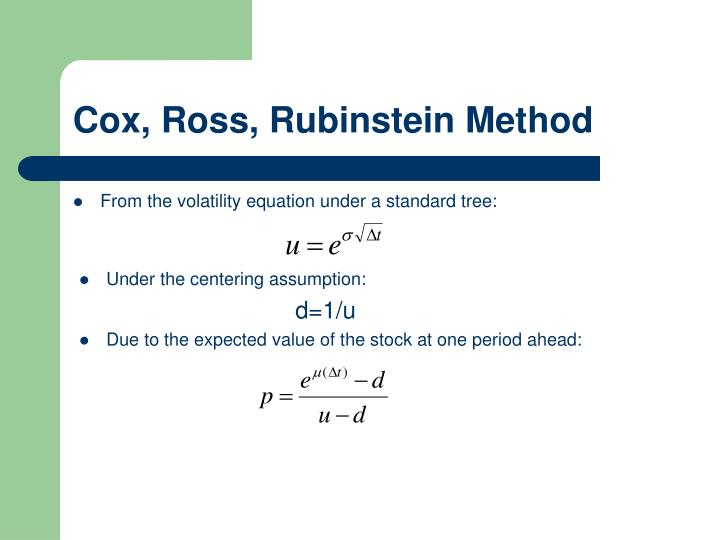 Cox, Ross, Rubinstein Method