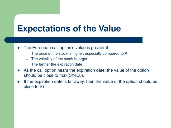 Expectations of the Value