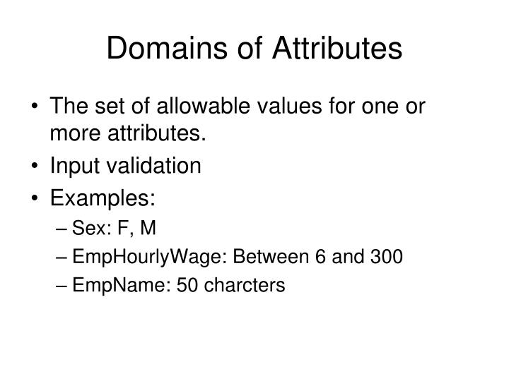 Domains of Attributes