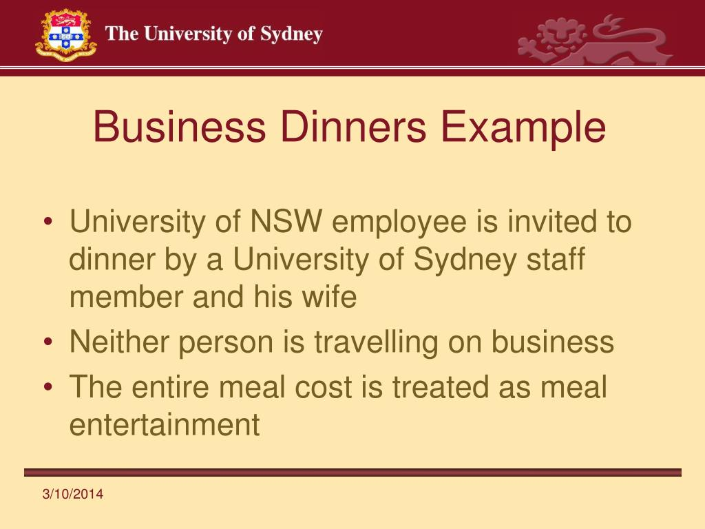 Business Dinners Example
