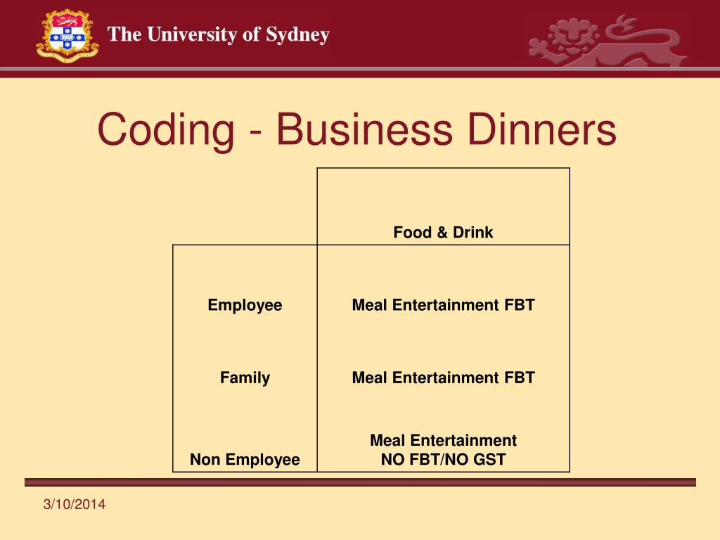 Coding - Business Dinners