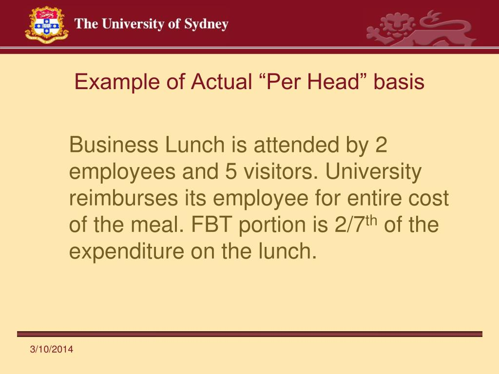 "Example of Actual ""Per Head"" basis"