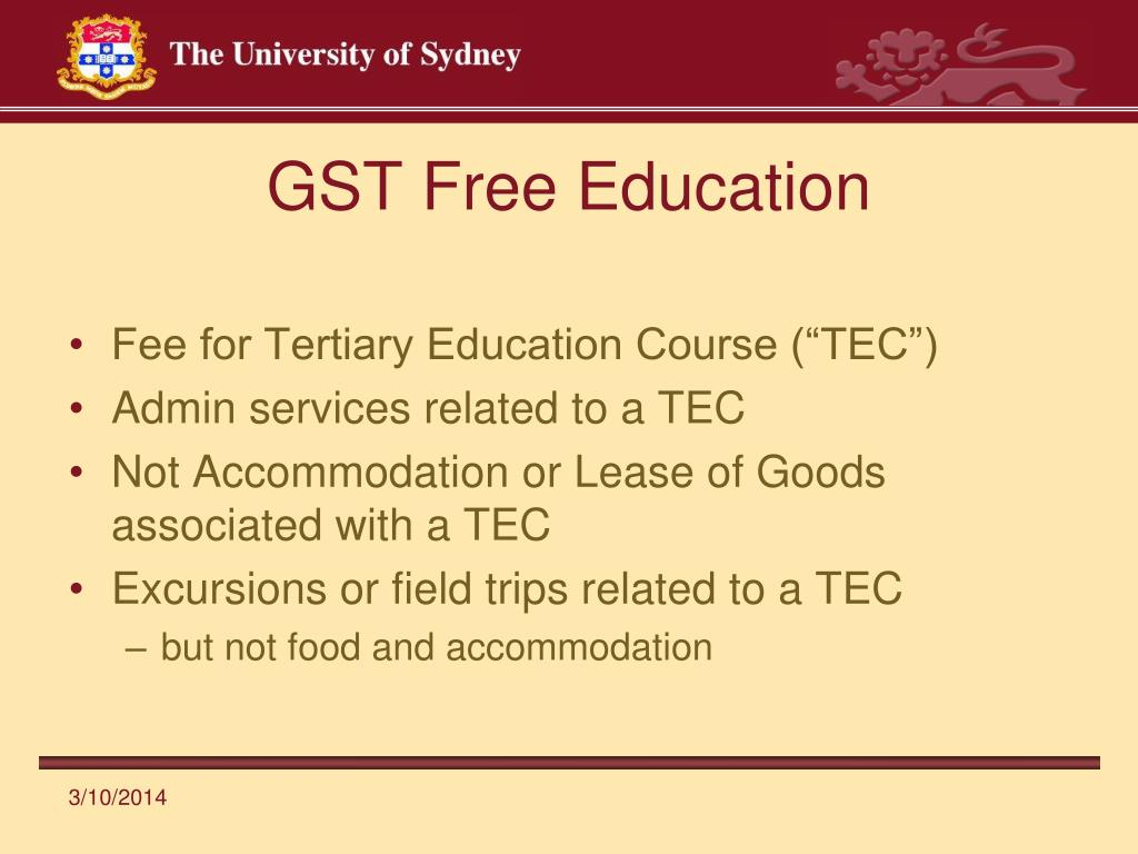 GST Free Education