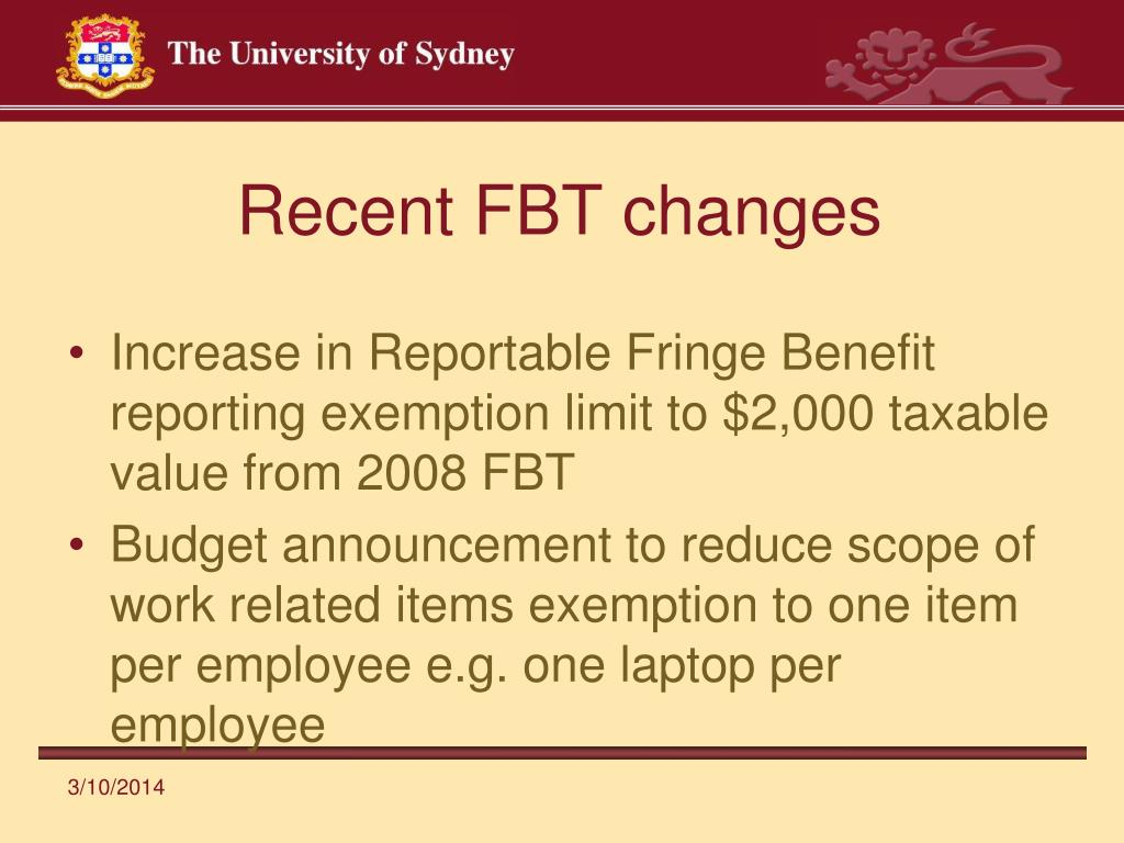 Recent FBT changes