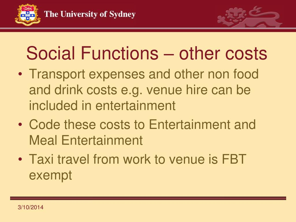 Social Functions – other costs