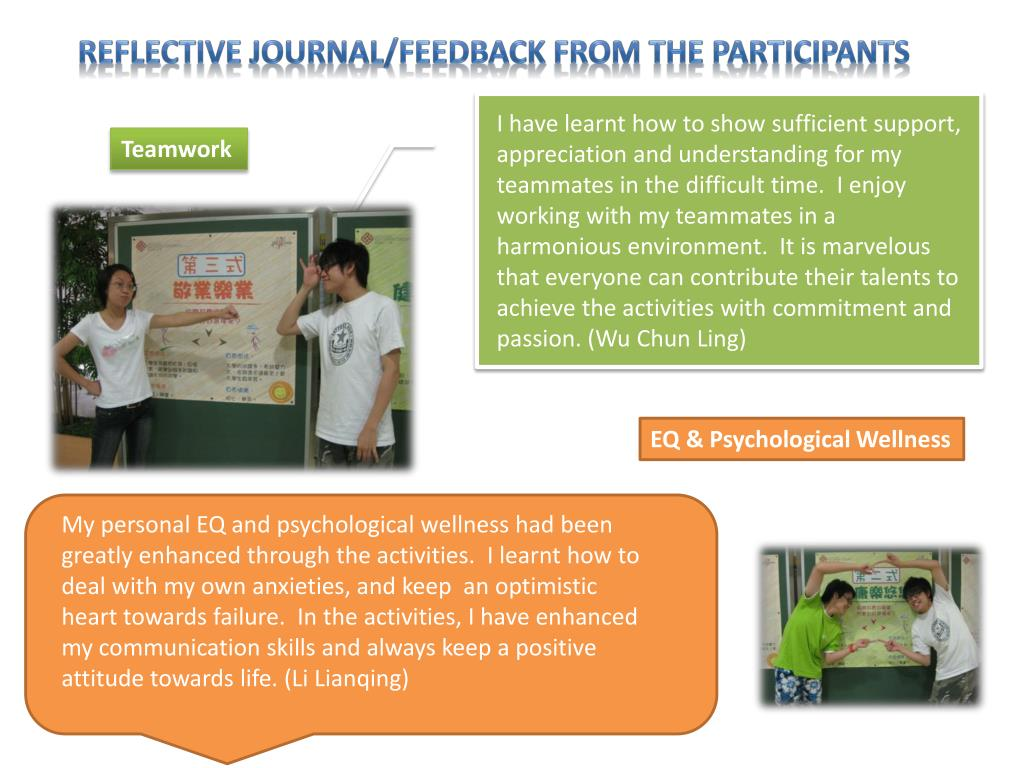 Reflective journal/feedback from the participants