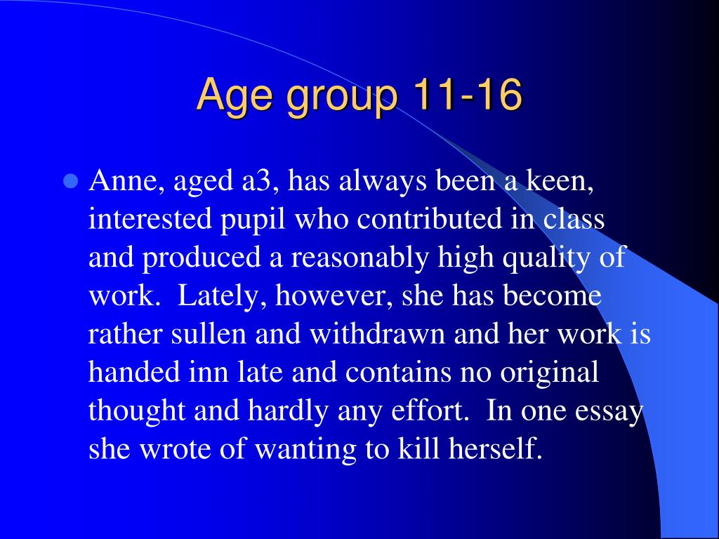 Age group 11-16