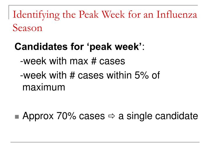 Identifying the Peak Week for an Influenza Season