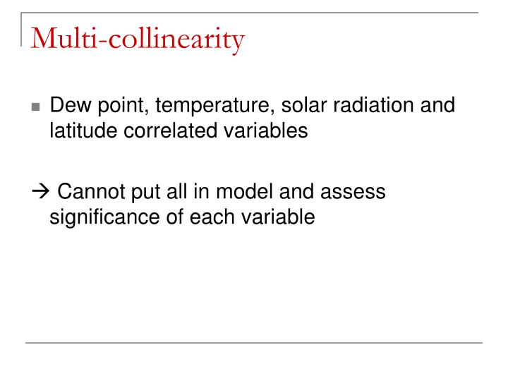 Multi-collinearity