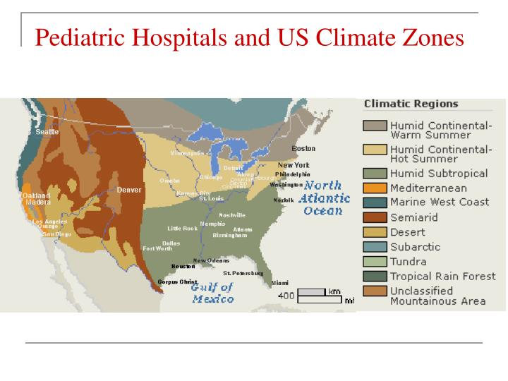 Pediatric Hospitals and US Climate Zones