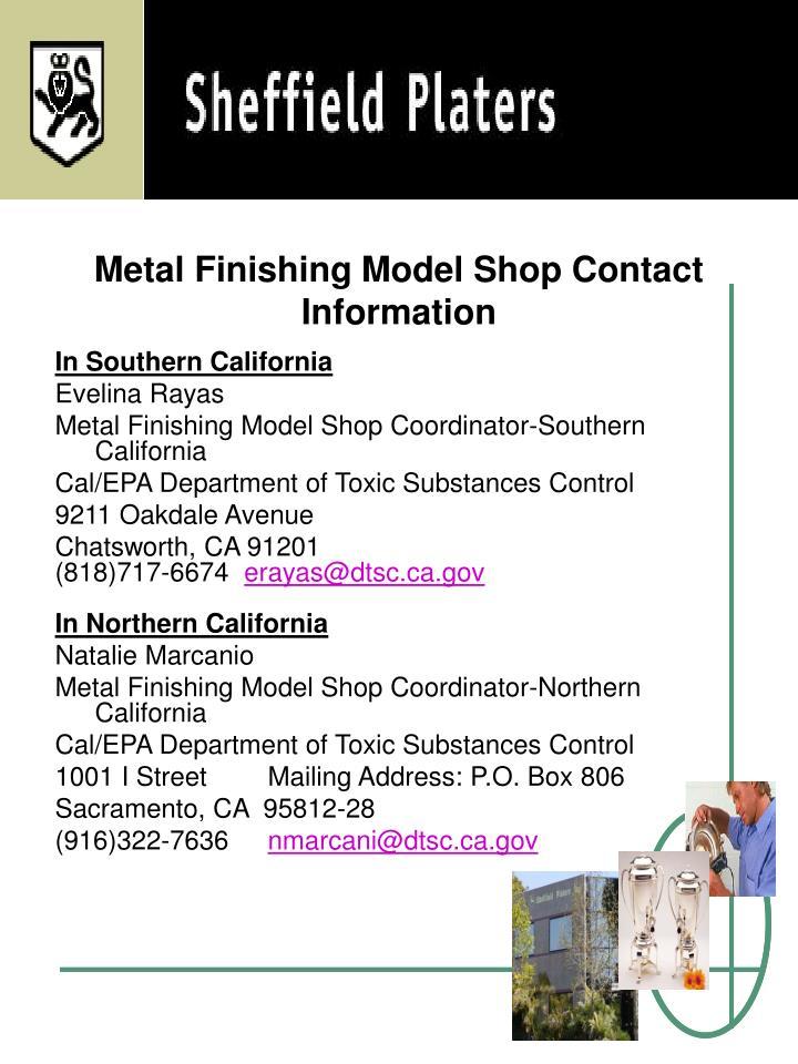 Metal Finishing Model Shop Contact Information