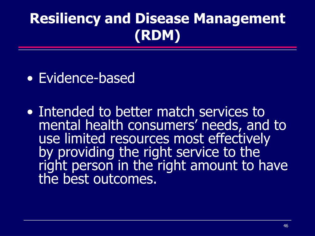 Resiliency and Disease Management