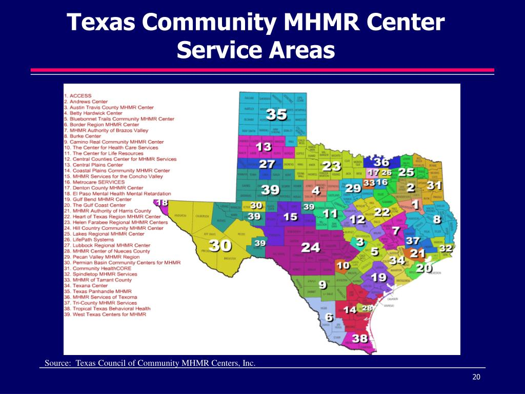 Texas Community MHMR Center Service Areas