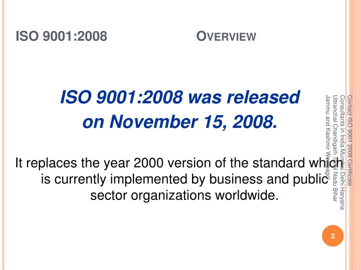 Iso 9001 2008 overview