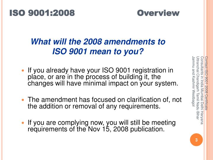 ISO 9001:2008 			Overview
