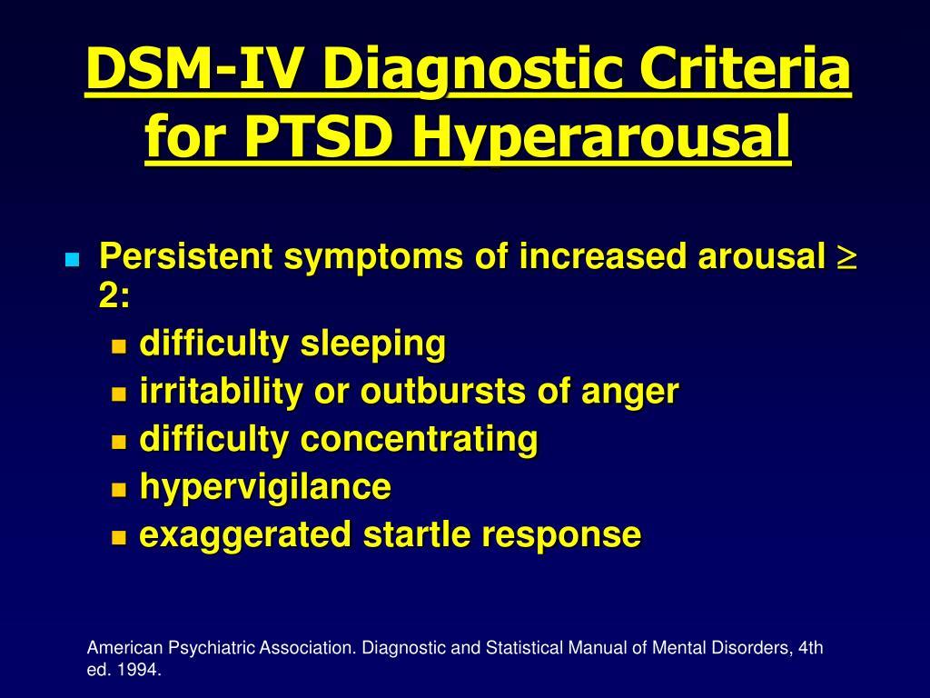 DSM-IV Diagnostic Criteria for PTSD Hyperarousal