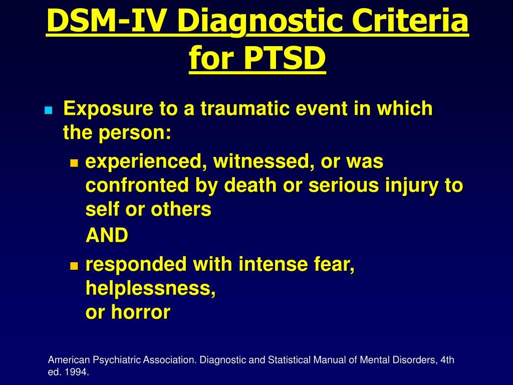 DSM-IV Diagnostic Criteria for PTSD