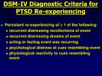 dsm iv diagnostic criteria for ptsd re experiencing