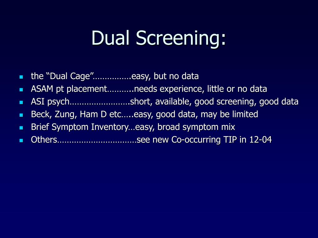 Dual Screening: