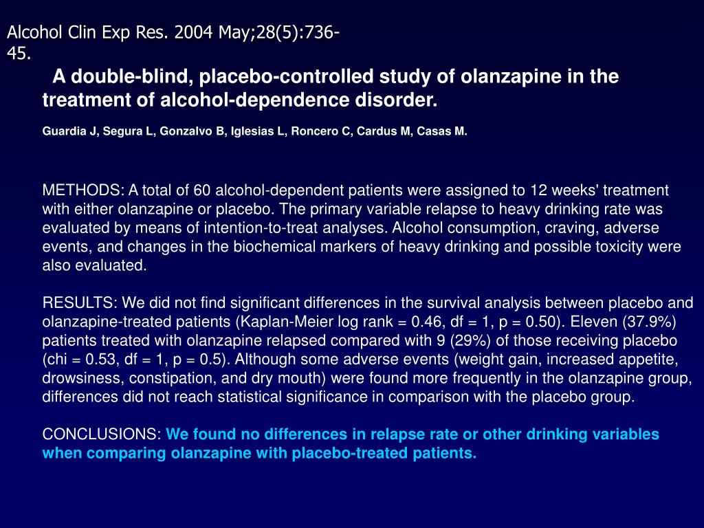 A double-blind, placebo-controlled study of olanzapine in the treatment of alcohol-dependence disorder.