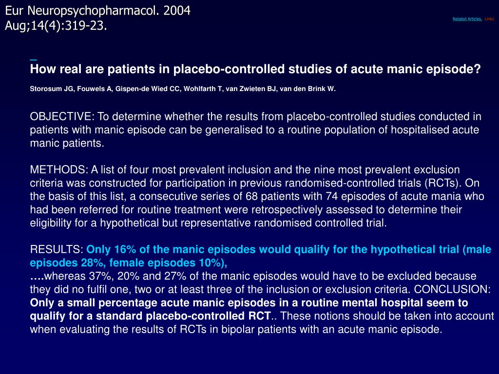 How real are patients in placebo-controlled studies of acute manic episode?