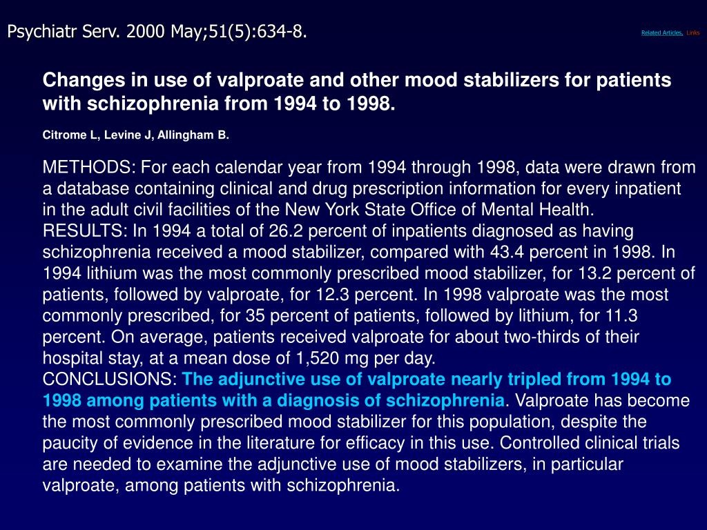 Changes in use of valproate and other mood stabilizers for patients with schizophrenia from 1994 to 1998.